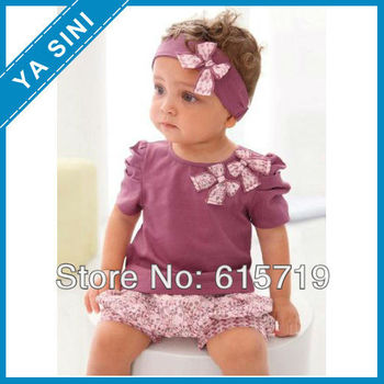 2015 Hot selling baby girl suits Purple sets:3 pieces:headband+shirt+pant/baby wear/baby set /baby suit Lovely New designs