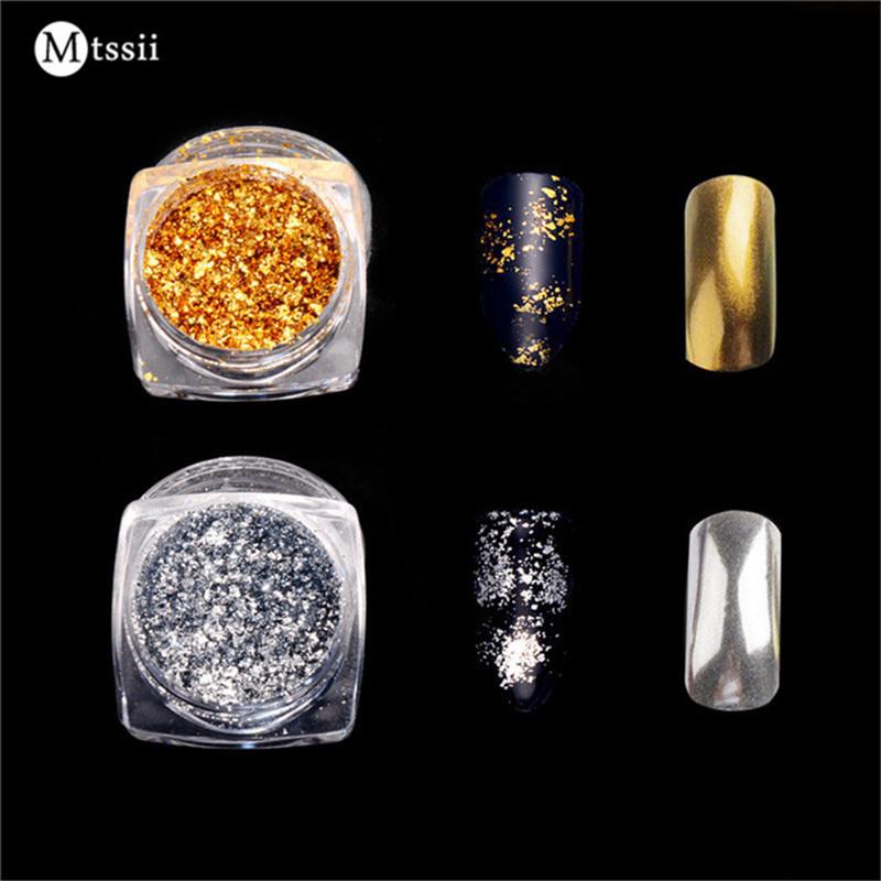 Mtssii 1 Box Gold/Silver Glitter Aluminum Flakes Magic Mirror Effect Powders Sequins Nail Gel Polish Chrome Pigment Decorations(China (Mainland))