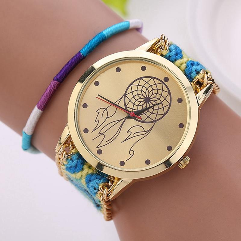 Мультфильм часы наручные женщины ручной плетеный дружба браслет часов новое поступление дамы quarzt золото платье часы xr910
