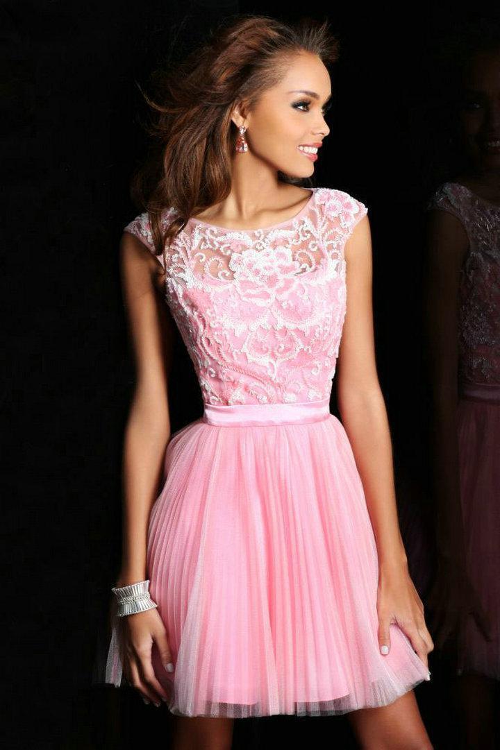 Pink Prom Dresses 2013 Hot Pink Cap Sl...
