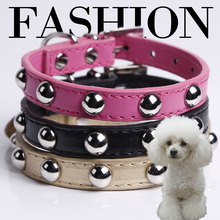 2015 New Arrival Studded Rivets Spiked Soft PU Leather Dog Pet Cute Collars Free shipping(China (Mainland))