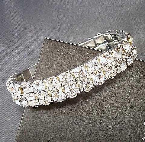 Free Shipping,12 pcs two/double row Elastic charm bracelet with white sew diamond stone ,flexibility bracelet korea jewelry