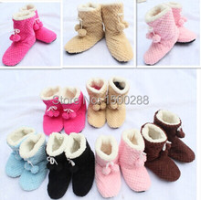 free shipping Women's indoor shoes cute plush 2 balls warm Indoor slippers, Household slippers, Indoor slippers winter warm feet(China (Mainland))