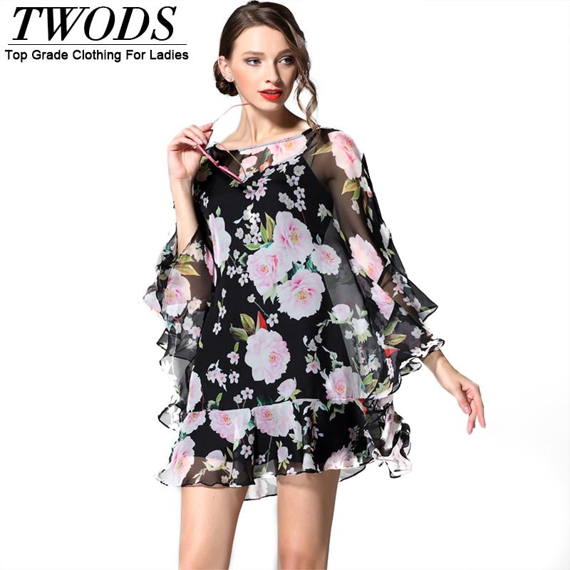 Twods 100% Silk High Street Women Summer Dress Loose Batwing Sleeve Ruffles Hem Short Mini Yong Lady Party Dresses Flower Print Одежда и ак�е��уары<br><br><br>Aliexpress