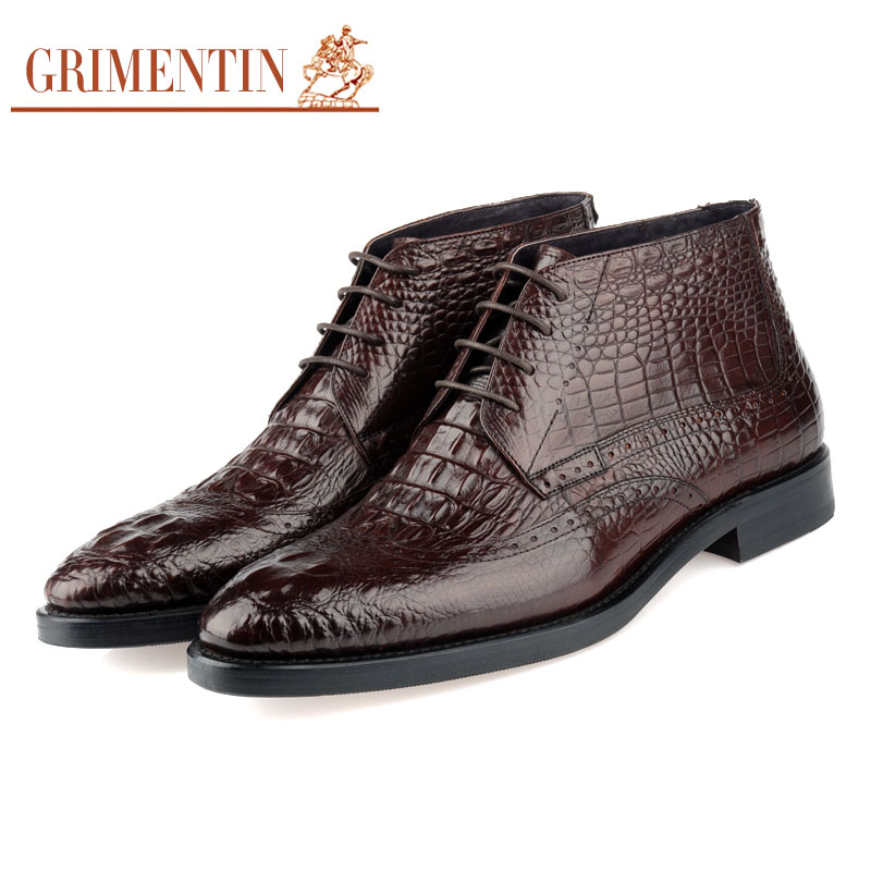 GRIMENTIN fashion 2016 high top luxury crocodile formal men ankle boots genuine leather black dress men shoes for men office b18(China (Mainland))