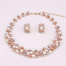 Hot Worldwide Imitation imitation pearl Gold Plated Simple Elegant Bridal Jewelry Sets Kit Gift(China (Mainland))