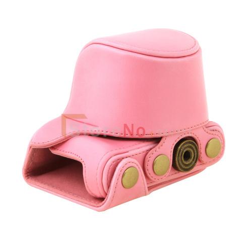 Pink New Camera Leather Case Bag With Shoulder strap for Panas&nic LUMIX DMC-GM1KS GM-1 12-32mm lens PU(China (Mainland))