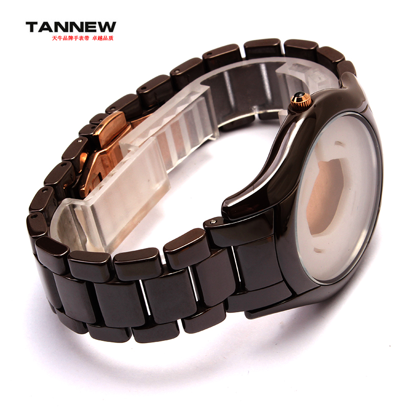 Brown 22mm New watch accessories,Ceramic bracelet men watch strap with butterfly buckle for AR1444(China (Mainland))