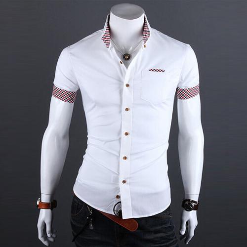 2015 летние мужские плед лоскутная социальной одежда мужчин свободного покроя тонкой ...