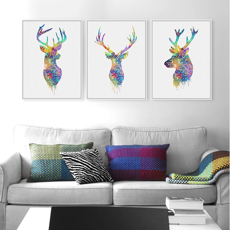 original watercolor deer head hipster a4 large poster prints modern abstract animals canvas. Black Bedroom Furniture Sets. Home Design Ideas
