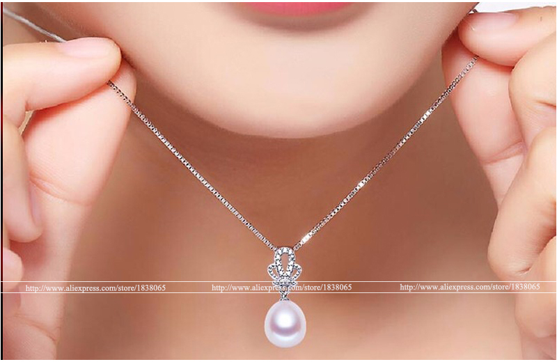 2015 Fashion Crown Pendant Earrings 925 Sterling Silver Jewellery Sets Zircon Synthetic imitation diamonds Jewelry Natural Pearl(China (Mainland))