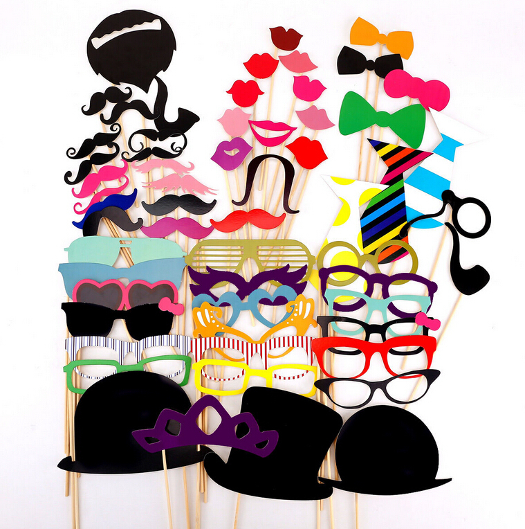Photo Booth Props 2015 NewHOT Fashion Huge Fun 60Pcs/Set Photobooth For Wedding Decoration Birthday Party Event & Party Supplies(China (Mainland))