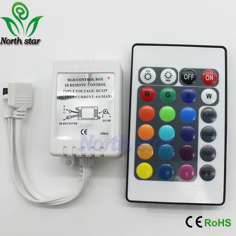 Mini DC12V 24Key RGB Controller IR Remote Controller With Mini Receiver For 3528/5050 RGB LED Strip Light /Led Tape Controller(China (Mainland))