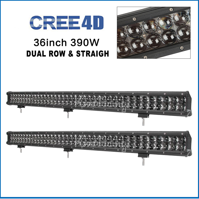 2pcs 36'' 390W Led Light Bar cree 4D combo beam straight work light for offroad 4x4 4WD SUV ATV camper truck wagon pickup 12V 24(China (Mainland))