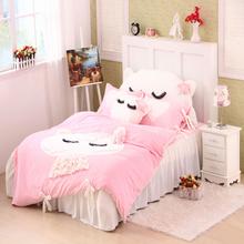 2015 New winter Coral velvet kids Bedding set 4pcs cartoon Rabbits Baby children bedclothes bed linen duvet cover pillowcase(China (Mainland))