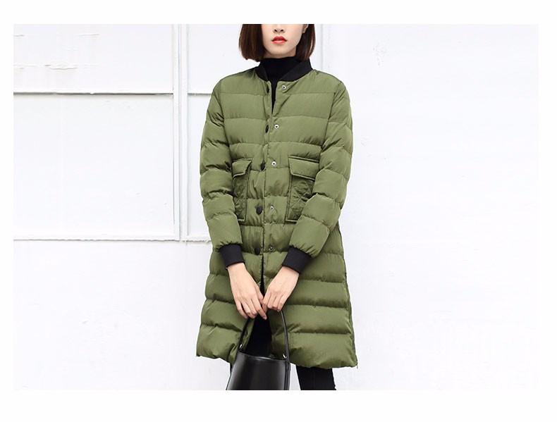 Скидки на Толстые Легкие Ветровки Куртки Женщины Зима 2016 Корейский Стиль Femme Однобортный Закрытие Длинный Зеленый Армии Пальто Плюс Размер