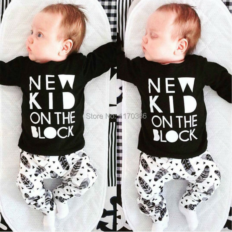 2016 Fashion New baby clothes set unisex baby suit black cotton long-sleeved letter T-shirt+pants newborn baby clothing set(China (Mainland))