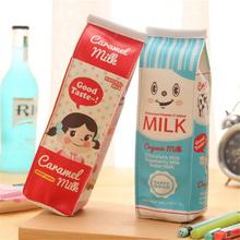 Cute Kawaii PU Pencil Case Creative Milk Pencil Bag For Kids Gift Novelty Item School Materials Free Shipping 1128(China (Mainland))