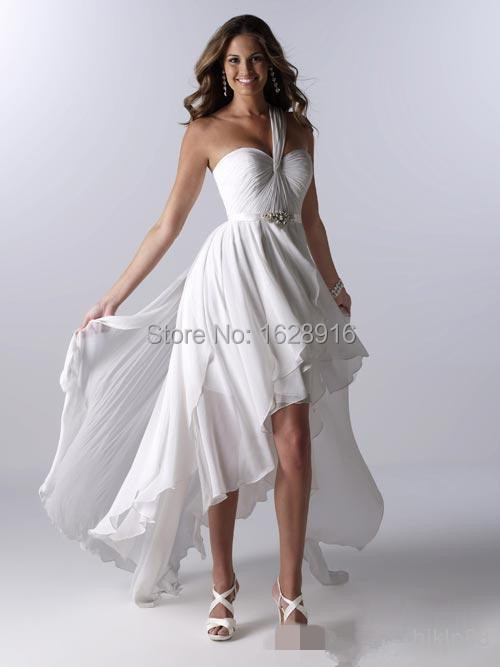 2016 women dress beach style one shoulder ruffle high low for Wedding dress high low