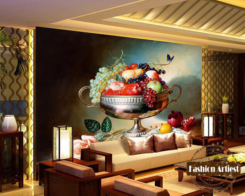 Custom 3d fruit silver plate wallpaper mural rose apple grape butterfly oil painting tv sofa bedroom living room background(China (Mainland))