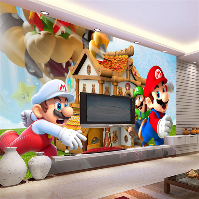 Super Mario papel de parede 3d cartoon wallpaper children's room living room TV sofa backdrop wall paper large mural wallpaper(China (Mainland))
