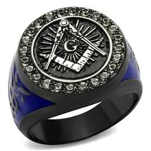 Dc1989 New design Stainless Steel Men's Ring Two Tone IP Light Black Blue Epoxy G pattern Grey color stones Lead Free(China (Mainland))