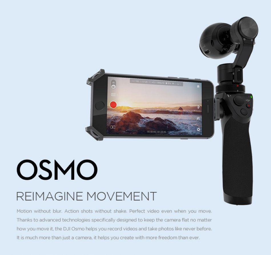 Original DJI Osmo 3-Axis Handheld Gimbal Stabilizer Camera 4K video, 12 megapixel photos Professional 3-axis stabilization