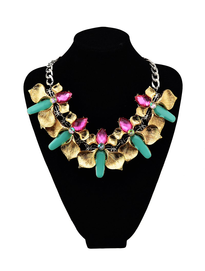 2015 Freehipping New arrival Holesale Baroque turkish style colorful flower vintage statement collar choker necklace(China (Mainland))