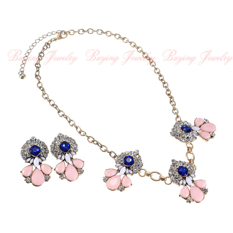 Choker Statement Pink Resin Necklaces Matching Blue ...