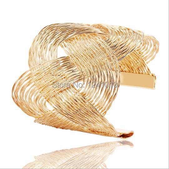 Gild Exaggeration punk S shaped wire drawing Layered Alloy Bracelet & Bangles Sets New 2015 Fashion Jewelry Women Gift Wholesale(China (Mainland))