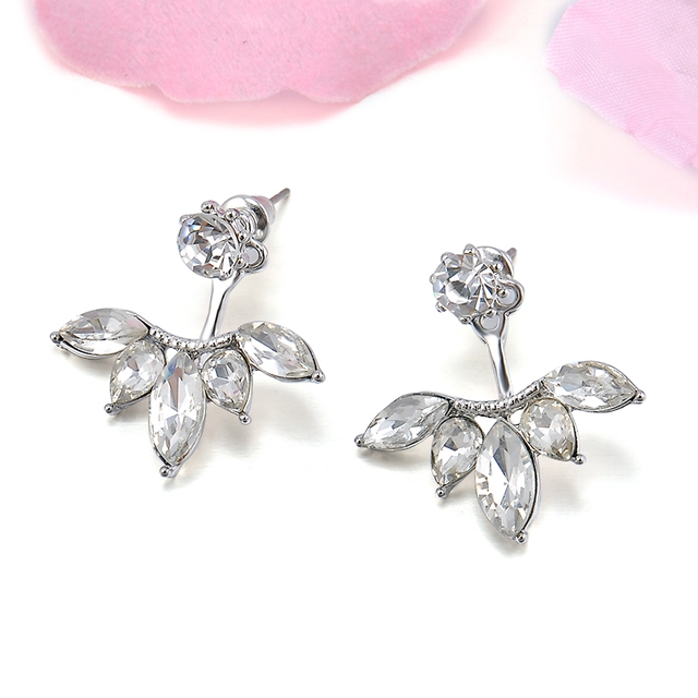 Gold and Silver Leaf Crystal Earrings