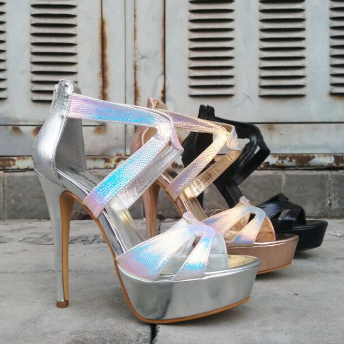 New Women Sandals Nightclubs shoes high with fine with waterproof Rome hollow laser stage model Colorful Fashion Sandals<br><br>Aliexpress
