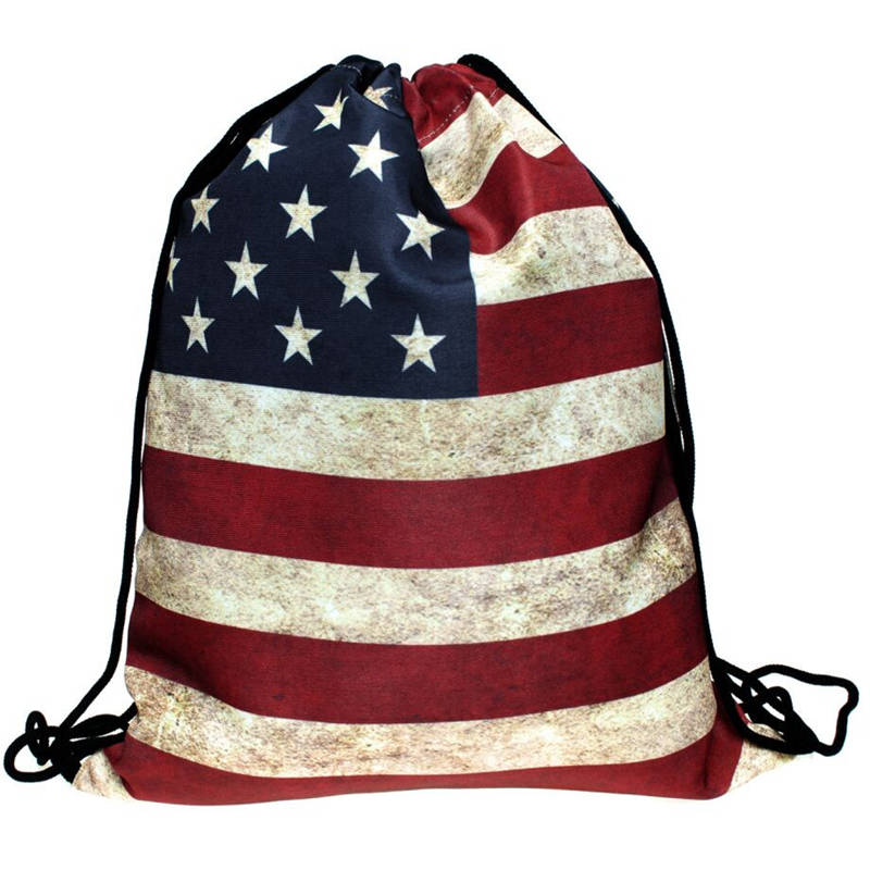 Ulrica 2017 New Arrival 3D Printing USA UK Flag Mochila Feminina Backpack Women Fashion daily Shopping Casual Drawstring Bag