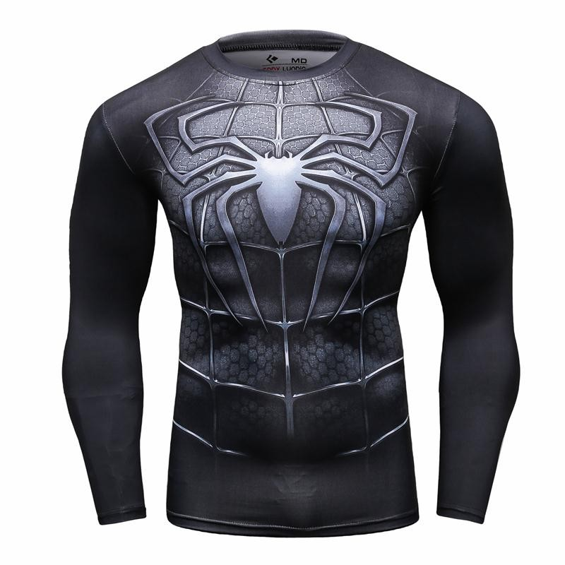 Mens compression shirts bodybuilding skin tight long sleeves jerseys clothing mma crossfit exercise workout fitness sportswear