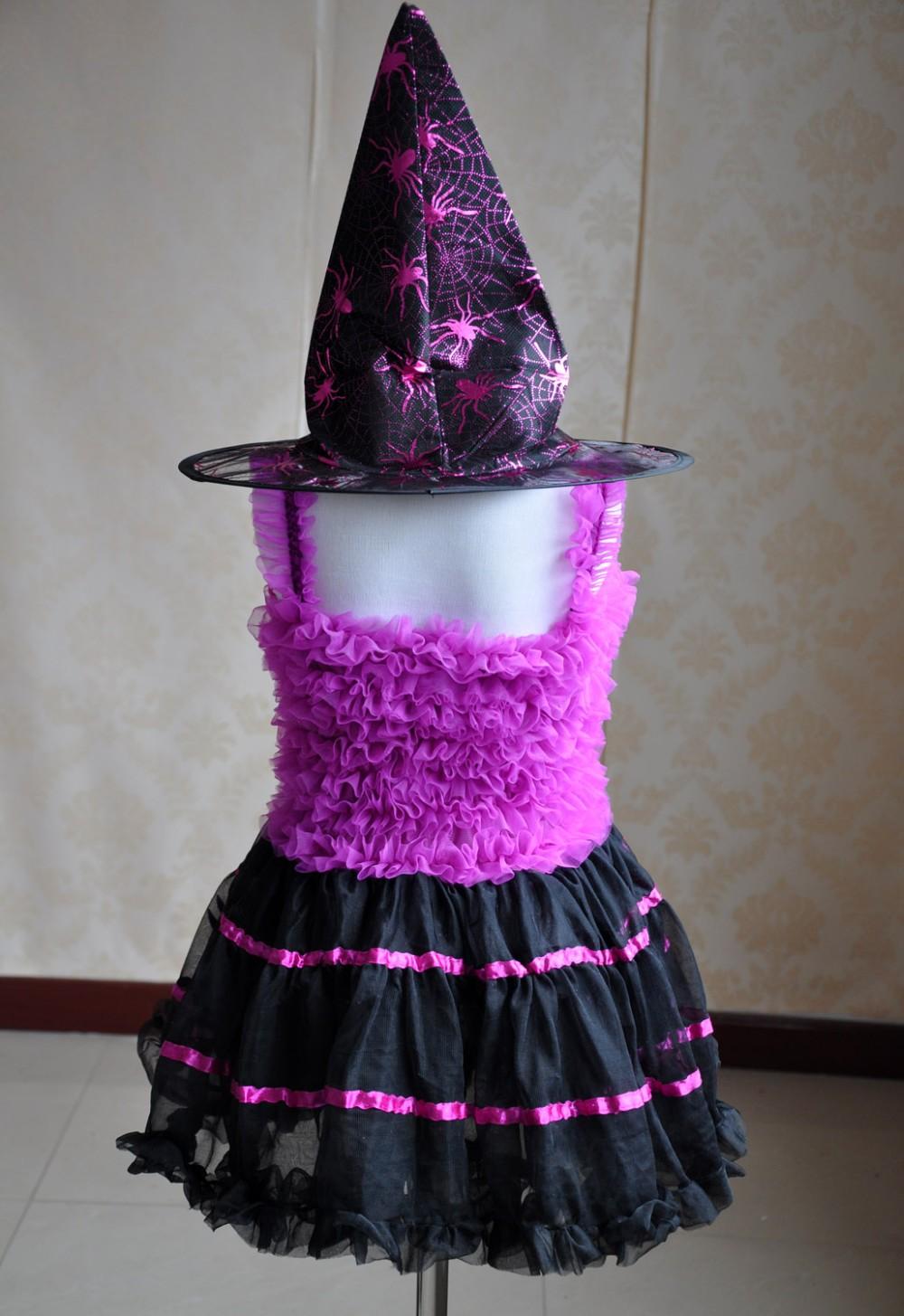Скидки на Хэллоуин ведьмы костюмы дети маленькие девочки костюмы (шляпу включен)