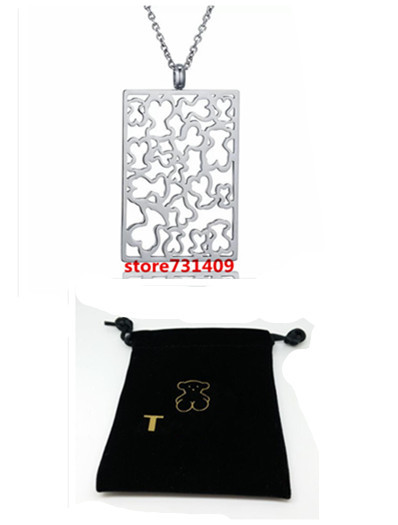 free shipping fashion stainless steel square more bear necklace <br><br>Aliexpress