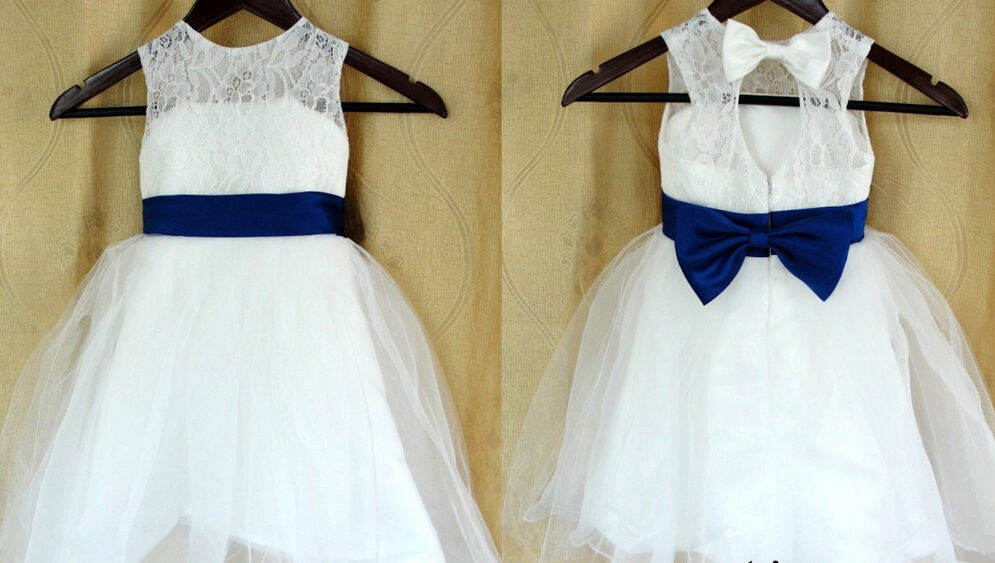 2015 Lace Navy blue Bow Flower Girl Dress Baby Girls Dress