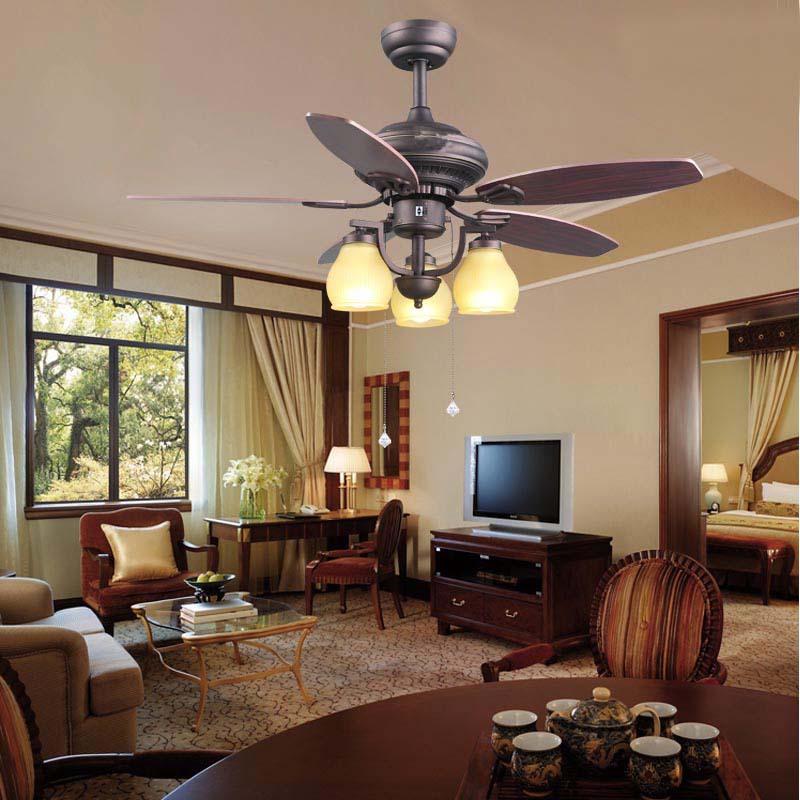 Modern home living room original 52 inch 3 LED holder wood blade ceiling fans with lights bronze ceiling lamp E27 lamp holder<br><br>Aliexpress