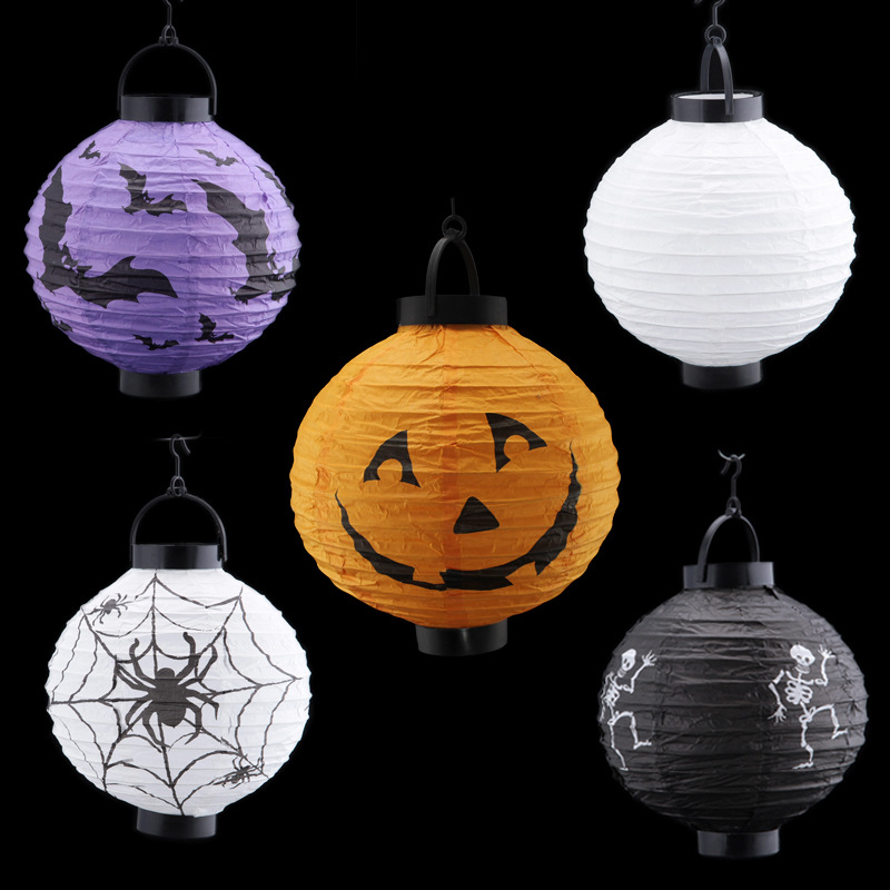 Halloween Decorations And Props Pumpkin Hanging Paper Lantern Terror Witch Lantern Hand Skull Lamp Props Outdoor Party HG0156(China (Mainland))