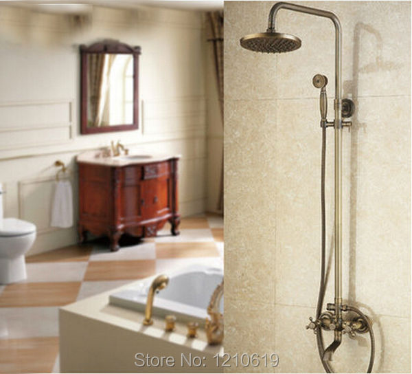 Newly US Free Shipping Antique Brass Bathroom Shower Faucet Rainfall 8 inch Shower Head W/ Brass Hand Shower Wall Mounted