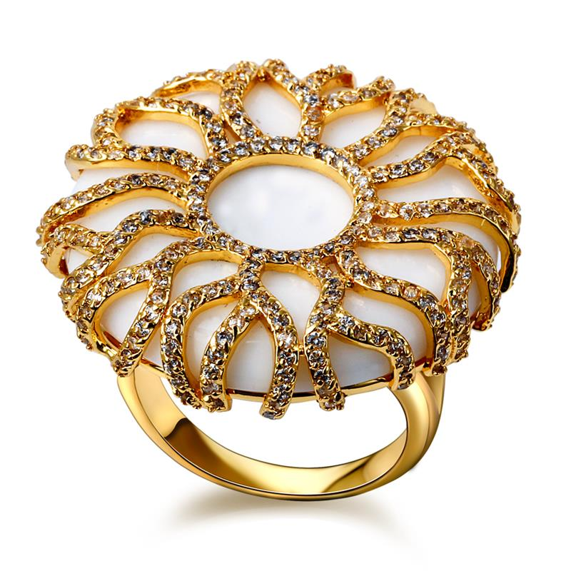 Latest Design Women Round Shape Big Rings 18k Gold Plated Cubic Zirconia Party Dresses Fine Rings Fashion Jewelry US Size 7,8,9