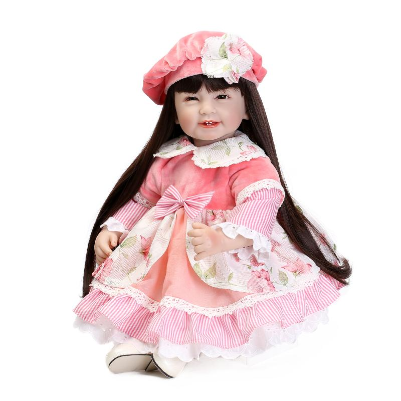 Silicone vinyl princess doll toy for girl lifelike smile toddler dolls with pink dress long hair play house toy collectable doll<br><br>Aliexpress