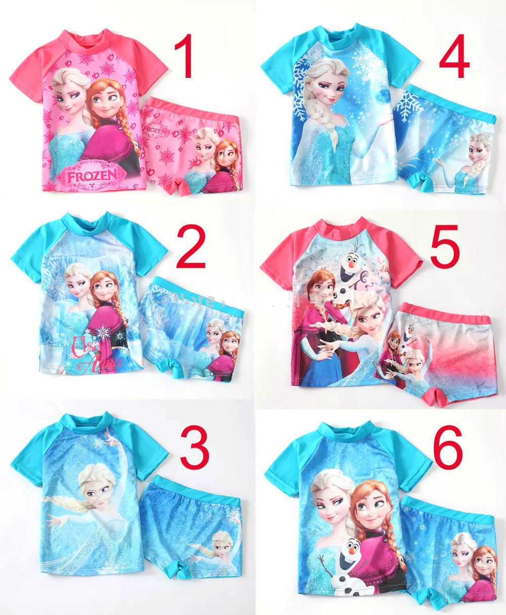 free DHL 20sets/lot anna and elsa two pieces rash guard kids short sleeve swimsuit girls sun protection anti-uv Surfing clothes