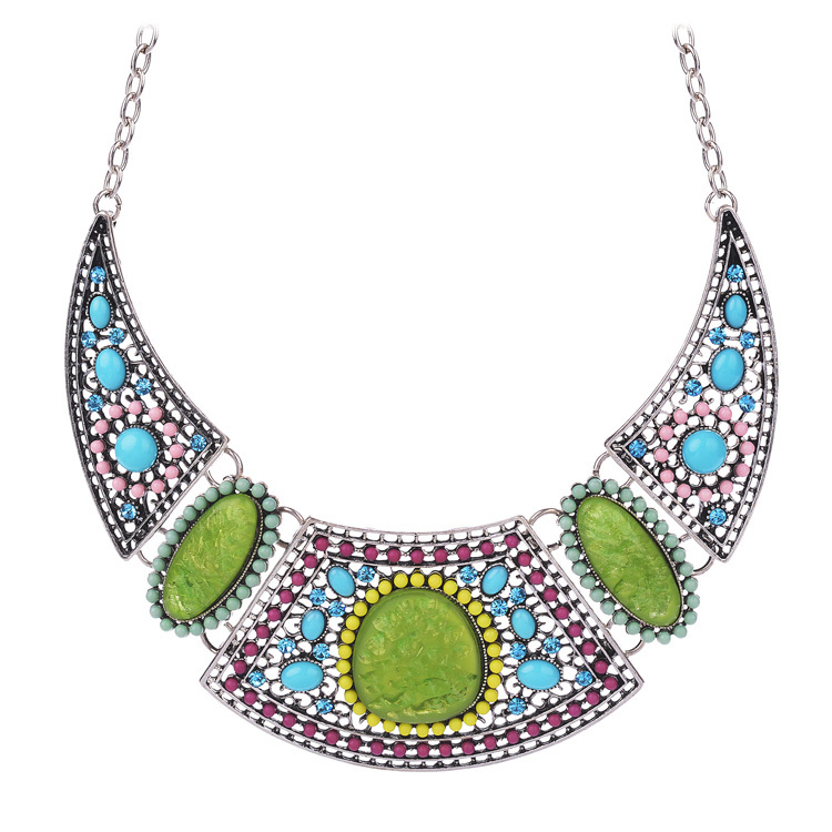 Luxuriant Blue Rhinestone Colorful Beads Silver Plated Hollow Boho Big Statement Necklaces 2015 Fashion Jewelry Women - shineland Official Store store