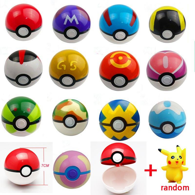 13Styles 1Pcs Pokeball + 1pcs Free Random Pokemon Figures Anime Action Figures Toys(China (Mainland))