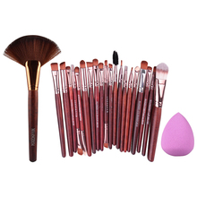 20Pcs Practical Eyeshdow Eyes Makeup Brush + 1Pc Professional Makeup Large Fan Brush + Sponge Puff Combination Face Makeup Kits(China (Mainland))