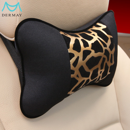 2PCS/Lots Car Pillow Headrest PU LEATHER and PP COTTON Leopard Print Car Accessories,Golden&Silver With Black Free Shipping(China (Mainland))