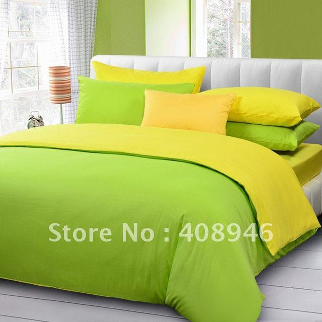 120224 Fedex free shipping! wholesale- 40s 100% Sateen cotton yellow+green  color  bedding set / 4pcs duvet cover