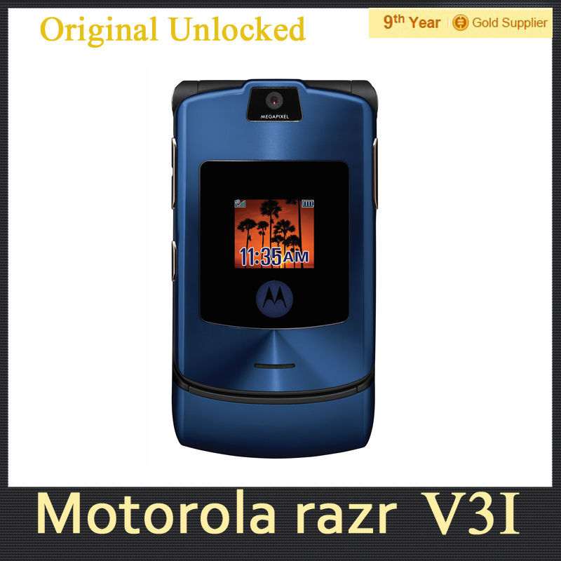 V3i Original MOTOROLA RAZR V3i DG Vesion Quad band Mobile Phone Bluetooth 1.3MP Camera Refurbished Cellphone 1 year warranty(Hong Kong)