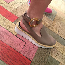 2015 E.U. brand rivet waves sole round buckle baotou leisure shoes, sheepskin platform sandals for women free shipping